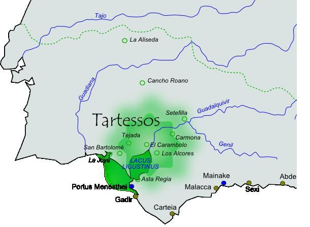 SPAIN / IBERIA (Pre-Roman Spain) -  The lost kingdom of Tartessos : According to the Greek historian Herodotus, King Arganthonios ruled Tartessia for 80 years (from about 625 BC to 545 BC) and lived to be 120 years old. This idea of great age and length of reign may result from a succession of kings using the same name or title. Herodotus says that Arganthonios warmly welcomed the first Greeks to reach Iberia, a ship carrying Phocaeans.