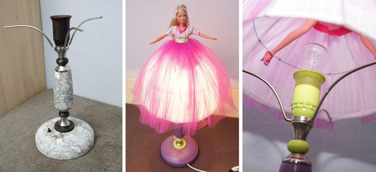 Лампа-Кукла :) Подружка заказала для своей дочери. За основу взята старая советская лампа с мраморным основанием, без абажура.