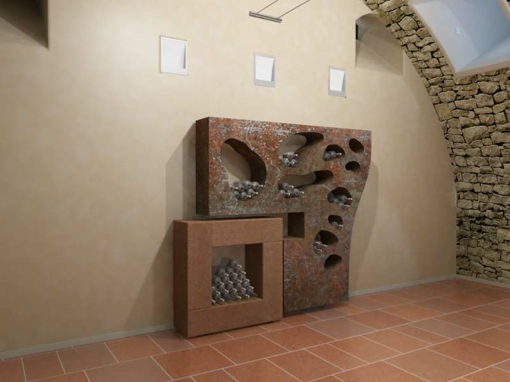 wine rack design in rusted steel optic created by Peter Stasek for Villa Hermannshof - conference and training centre of the company Freudenberg AG in Weinheim, Germany