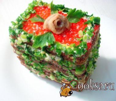 Закусочный торт селёдочно-икорный