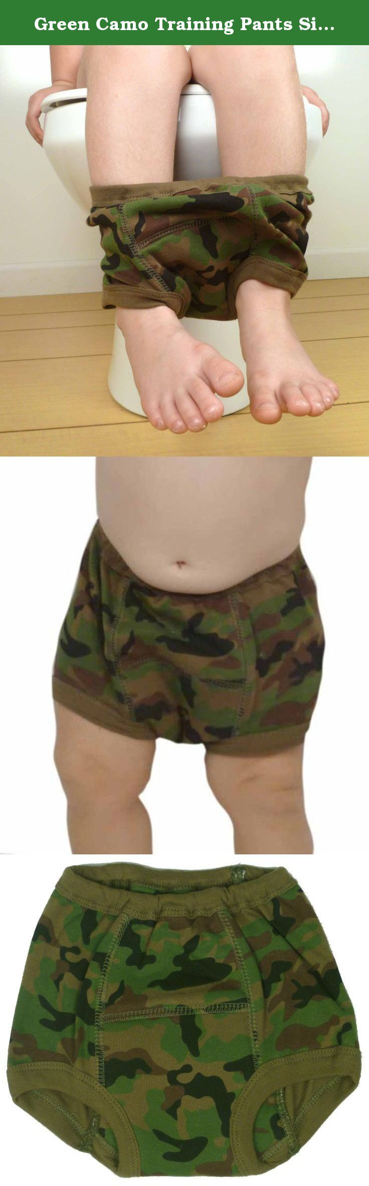 Green Camo Training Pants Size:S. Camo Potty Training Pantsare the prefect potty training accessory for the budding outdoors man, military family, or avid hunting toddler. These green camouflage cloth training pants are not just fashionable, the are also a great motivator for potty training toddlers. These cloth training pants have an absorbent center panel that contains the accidents, but still allows your toddler to feel uncomfortable and therefore increase her awareness of her…