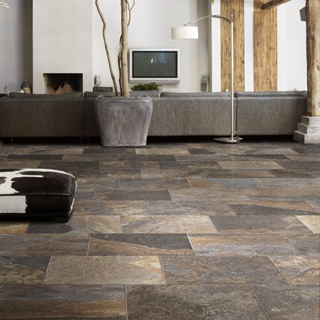 Slate plank tile modern living pinterest arizona for 12x12 floor tile designs