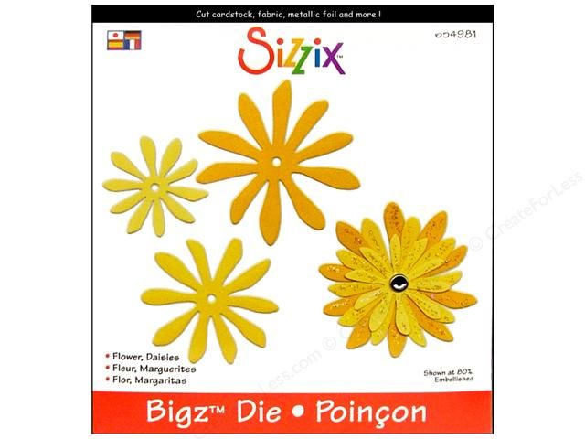 Bigz Die Flower Daisies by Stu Kilgour lets you cut out 3 daisy-like shapes, each a different size, which you could use individually or layer together to create 1 flower. Sizzix Dies help eliminate all that tedious and time consuming hand cutting. Great for cardstock, chipboard, fabric, foam, magnet, leather, metallic foil and paper. Largest shape measures approximately 2 7/8 inch. Compatible with the BIGkick, Big Shot, and Vagabond cutting machines.