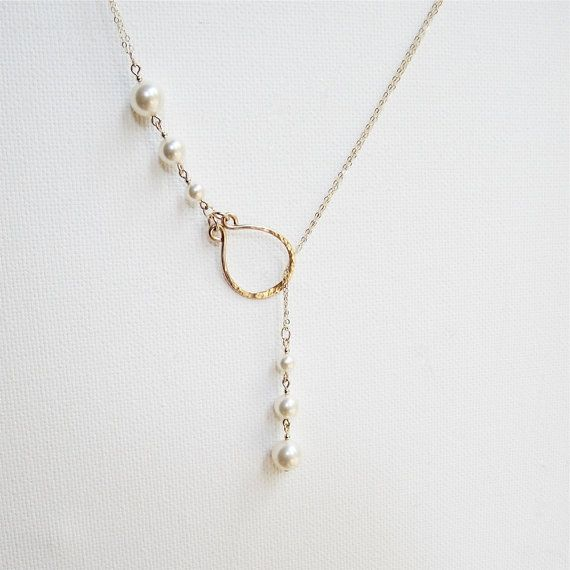 Beautiful pearl drop necklace is versatile and lovely. Wear as a bridal necklace, or with day wear...this lariat necklace will garner a lot