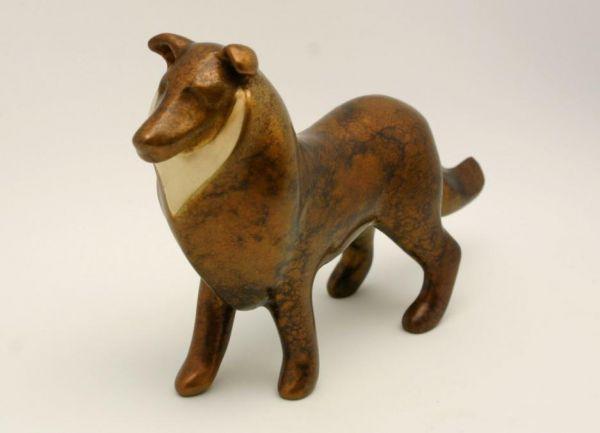 Lost Wax Bronze #sculpture by #sculptor Ann Seifert titled: 'Noble Companion - Dog sculpture (bronze small Sheepdog sculptures)'. #AnnSeifert