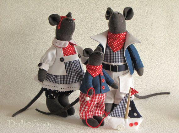 Tilda style Marine Mouse family Jill, John & Junior
