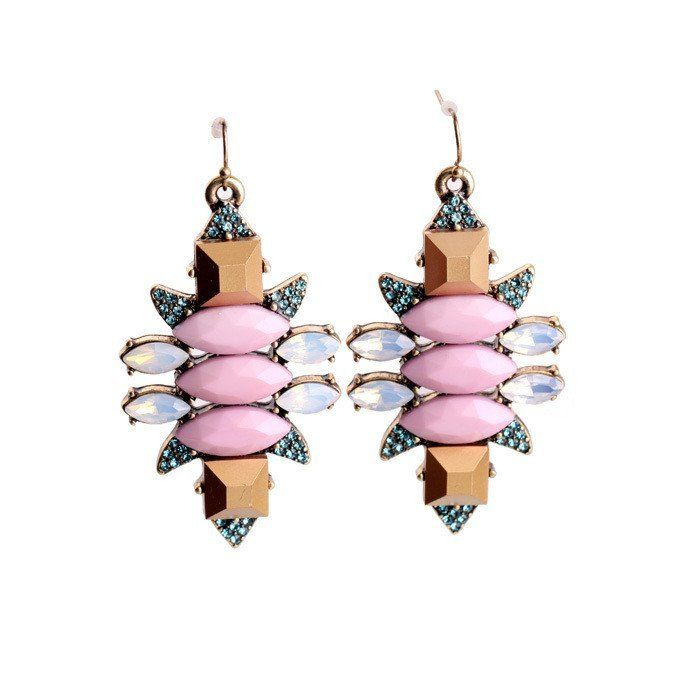 Fashion Drop Earrings - Yinka Trendy Pink Gem Earrings With Multicolor Crystals