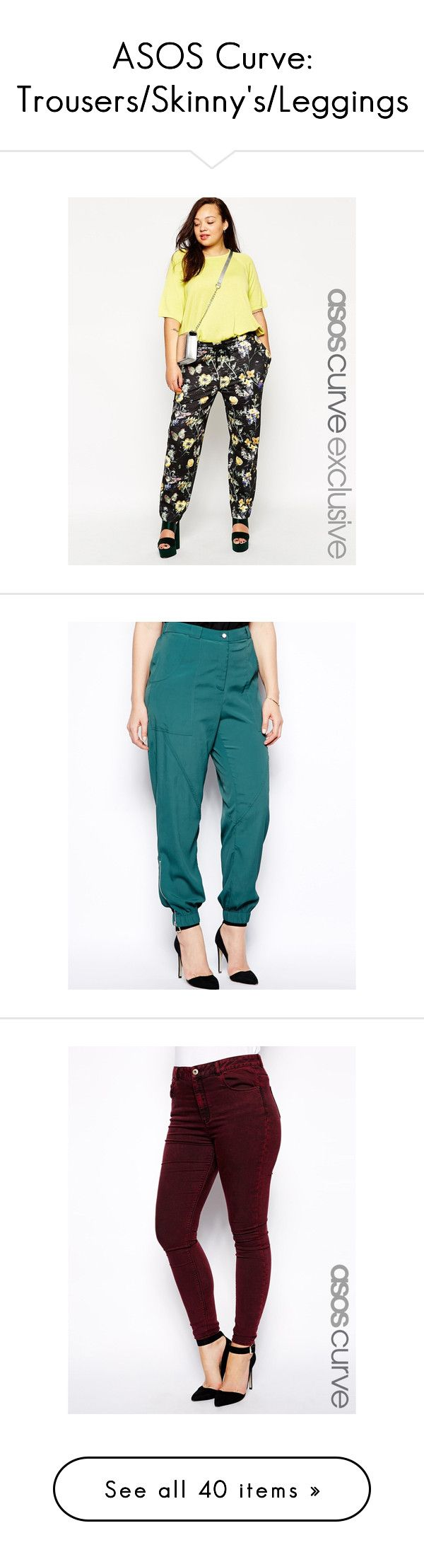 """""""ASOS Curve: Trousers/Skinny's/Leggings"""" by zbloodgoode ❤ liked on Polyvore featuring plussize, zbloodgoode, multi, plus size, asos curve, pants, capris, blue pants, highwaisted pants and plus size trousers"""