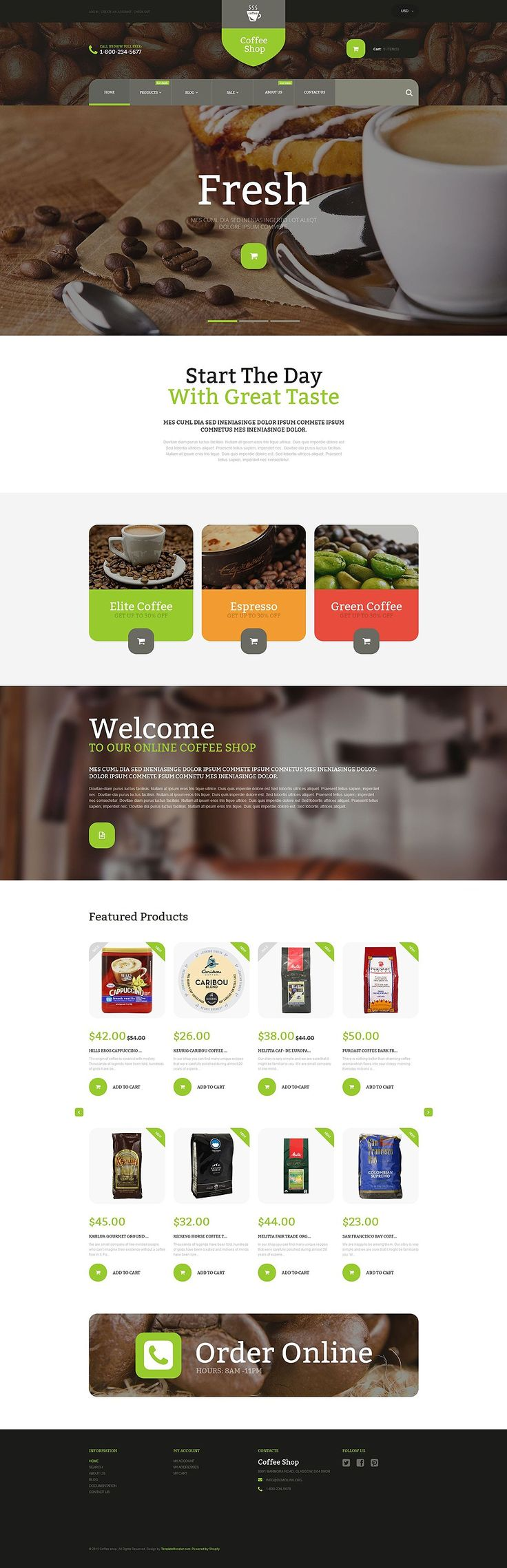 19+ Awesome Themes for Selling Beverages/Drinks (Coffee, Tea, Alcohol Store Shopify Themes) - Coffee Store (ecommerce website theme) Item Picture