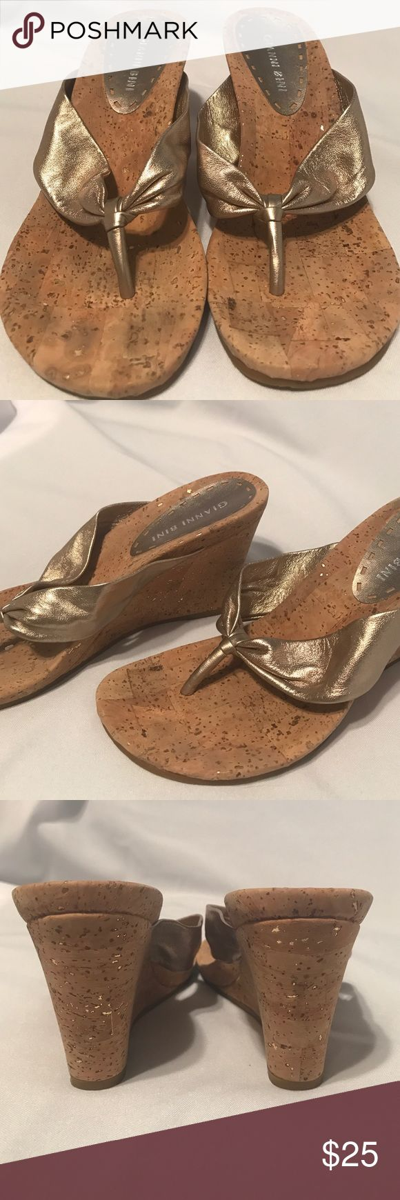 Gianni Bini gold cork wedges Gold sandals with cork wedge heel. Gianni Bini Shoes Wedges