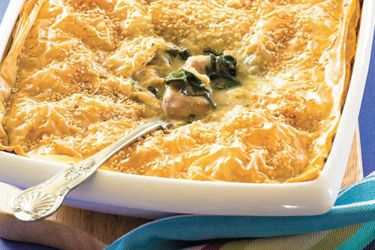Chicken, spinach and feta pie