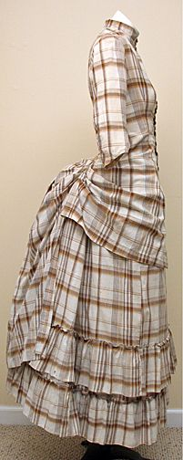 Antique Victorian 1880s Autumnal Plaid Cotton Bustle Dress