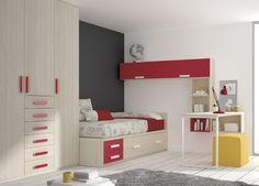 Kids Touch 14 Habitación juvenil Juvenil Camas Compactas y Nidos Cama compacta con cajones, con escritorio, estanterías y armario.