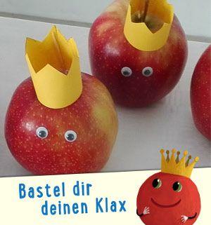 """Klax - Kugelrund und gesund! """"Der sieht ja aus wie ich!"""", ruft Klax erfreut. Wie ihr diese tollen Klax-Äpfel ganz einfach selber basteln könnt, erfahrt ihr, wenn ihr euch die Bilder anschaut. Ein Highlight auf jedem Geburtstagsbuffet. #basteln #bastelanleitung #kosmoundklax #geburtstagsfeier #apfel #snack"""