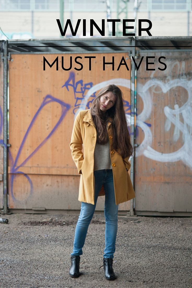 Outfit of the day Winter season Fashion blog Fashion photography Yellow coat Blue jeans Long hair