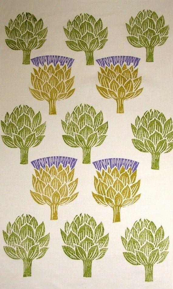 Artichoke Thistle hand printed linen tea towel set of by giardino