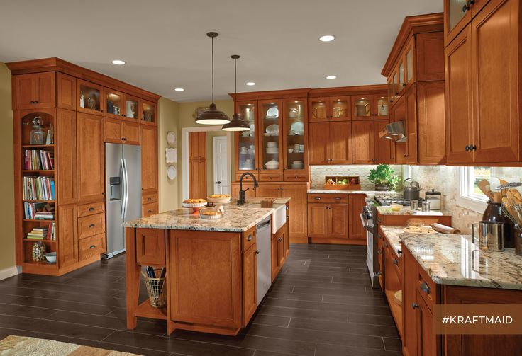 Awesome The Base Kitchen Cabinets, Wall Mounted Cabinets And Large Center Island  Are Made From
