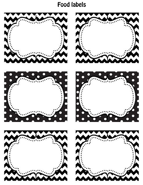 FREE Printable food labels Black & white Chevron and polka dots Put on recycled glass jars and make great organizing jars for everything!