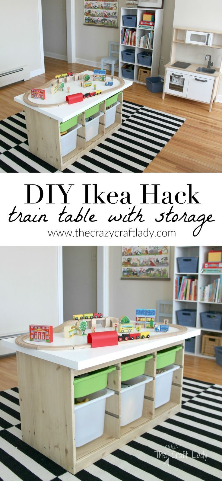 An Ikea Hack custom train and activity table with TONS of storage.  This is such an an EASY DIY project and a great way to get all of those toys up off the floor and organized once and for all!