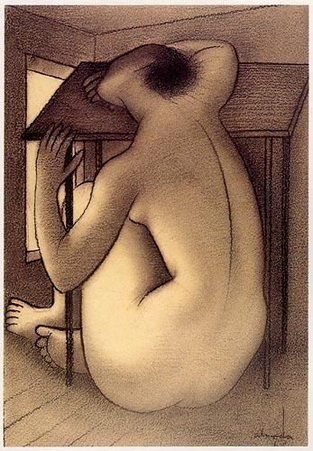 «Nu feminino de costas»  Lápis sobre papel,1946.  540x370 mm  José de Almada Negreiros (1873 - 1970 )