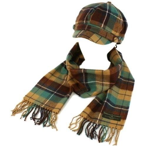 Ladies Winter Tartan Plaid Newsboy Cap Hat Softer Cashmere? Scarf Gift Set Teal $27.95