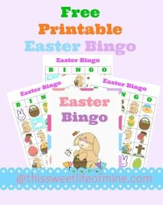 Free Easter Bingo Game from This Sweet Life