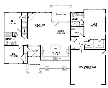 25 best ideas about bungalow homes plans on pinterest for Wide ranch house plans