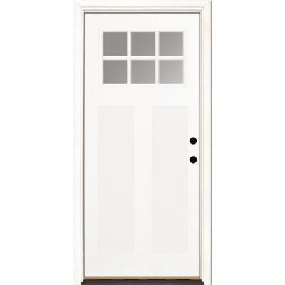 Feather river doors 36 in x 80 in 6 lite clear craftsman for Home depot craftsman door