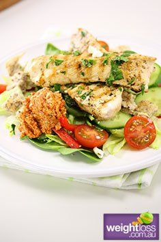 Healthy Lunch Recipes: Herbed Chicken Salad with Feta. #HealthyRecipes #DietRecipes #WeightLoss #WeightlossRecipes weightloss.com.au