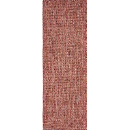 Unique Loom Outdoor Solid Rug, Red