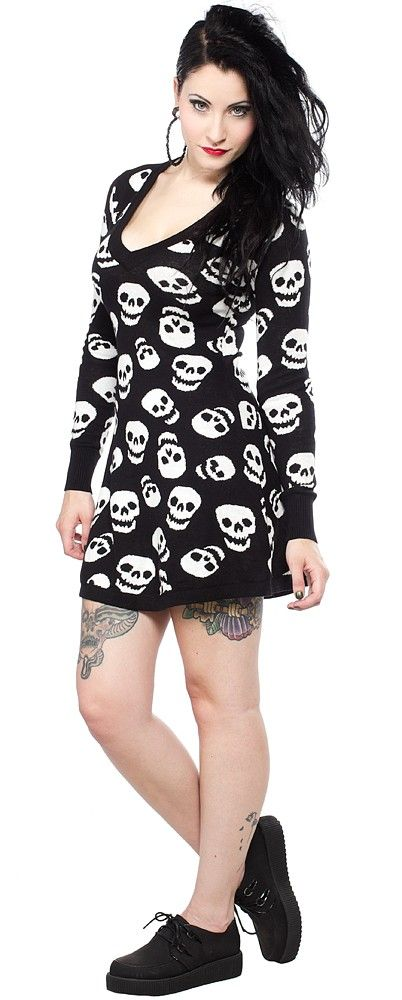 SOURPUSS LUST FOR SKULLS SWEATER DRESS Chilly weather is the perfect reason to wear sweater dresses, and it doesn't get any better than our Lust for Skulls Sweater Dress