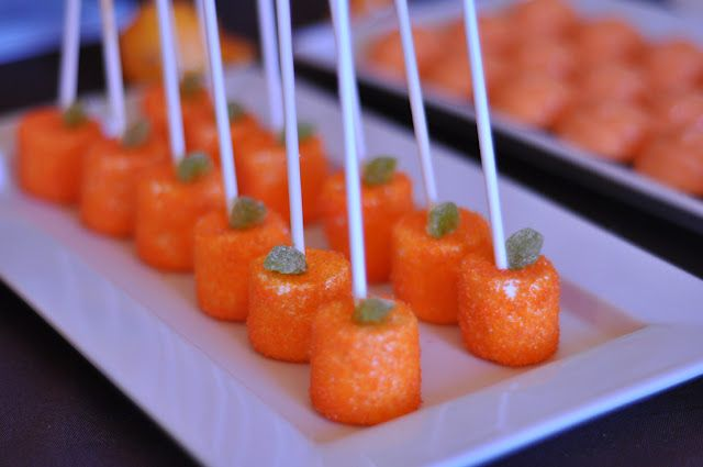 Pumpkin party!  Marshmallow sticks spritzed with water and rolled in orange sugar sprinkles.  So cute for Halloween or even just a nice Fall day