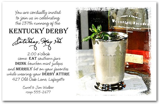 Bourbon Mint Juleps Party Invitations are perfect for your Kentucky Derby Party | TheInvitationShop.com