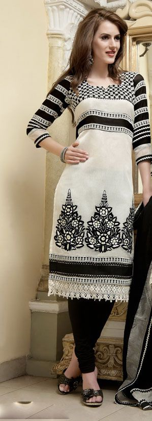 casual - Black and White Churidar Kameez Set