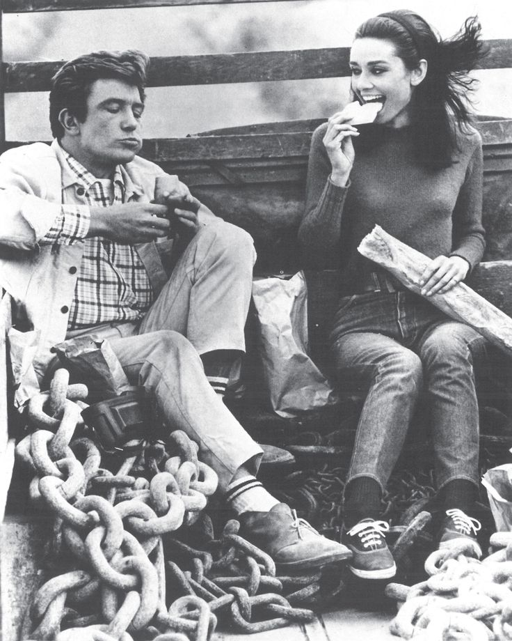 Audrey Hepburn with Albert Finney on the set of 'Two for the Road' 1967