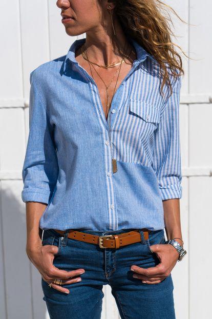 Kadın Mavi-Çizgili Bloklu Gömlek