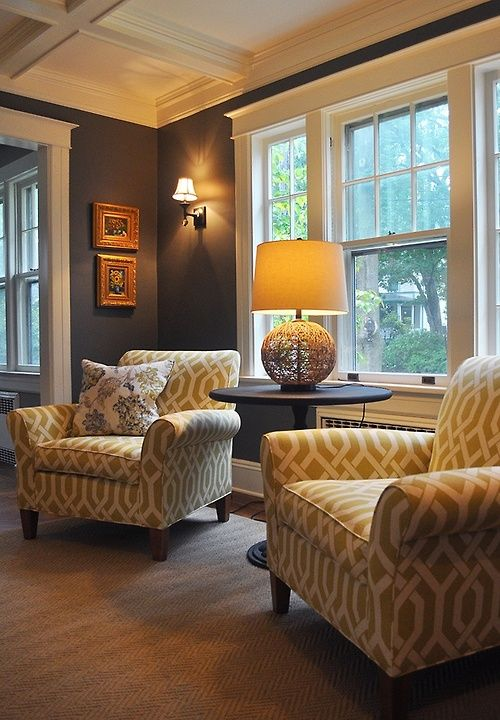 Yellow patterned chairs & gray walls - perfect color combo