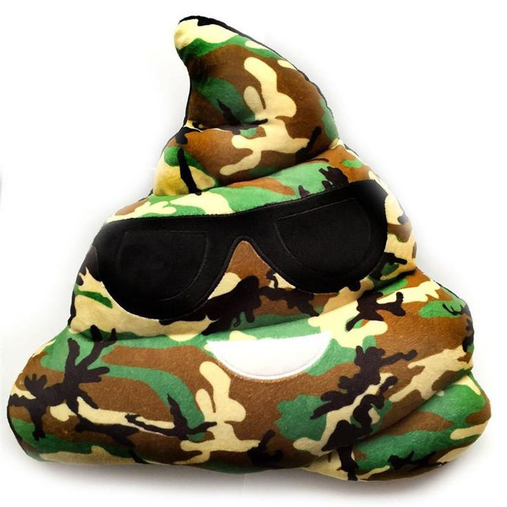 Coussin Emoji Crotte Treillis militaire - lunettes de soleil