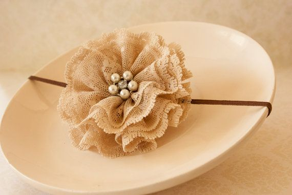 Lace Headband Cream Lace Flower with Oval by BeautyfromashesUSA