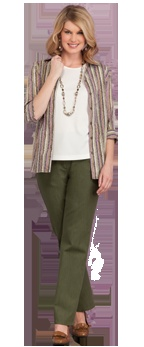 Crinkle Burnout Striped Blouse, Microfine Rib Knit Crew Neck Tee, Slim FX Classic Curvy Straight Leg Pant