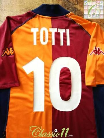 d52ebae11e5 Official Kappa Roma European football shirt from the 2001/02 season.  Complete with Totti #10 on the back of the shirt and Scudetto shield on the  chest.