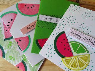Melonenmuster durch Kartoffeldruck - veronicard    Wassermelonen-Ideen mit Kartoffeldruck verwirklichen