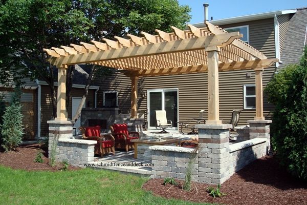 Approx 16 39 x 16 39 cedar patio featuring stone columns and for Bases para pergolas