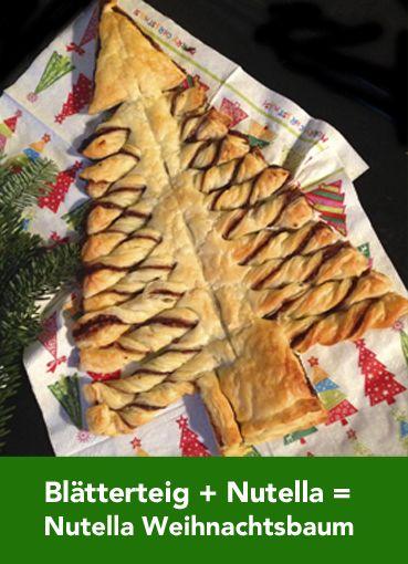 2 Packungen Blätterteig + Nutella für 20 Min. bei 200 Grad backen = Nutella Weihnachtsbaum! Die Anleitung findet ihr hier: http://www.moms-blog.de/nutella-weihnachtsbaum