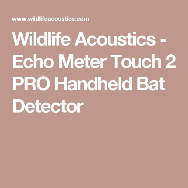 Wildlife Acoustics - Echo Meter Touch 2 PRO Handheld Bat Detector