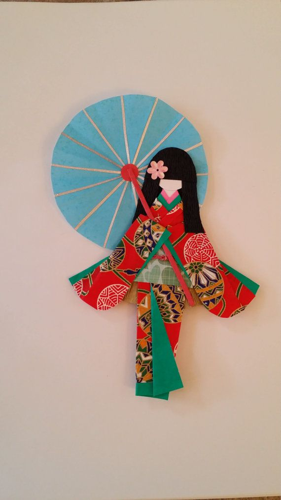 Washi Ningyo (traditional Japanese Kimono paper doll) bookmarks,  art decoration or display decoration