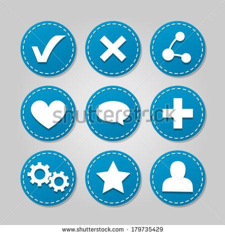 Set of blue vector badges/icons for web - in light blue   http://www.shutterstock.com/g/ajinak