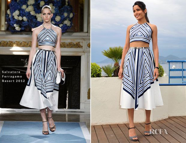 Freida Pinto In Salvatore Ferragamo - Cannes Photocall