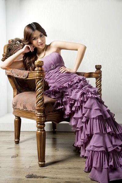 Tiered Floor Length Strapless Chiffon Dress with Ruffled Bust  Waist,$178.98