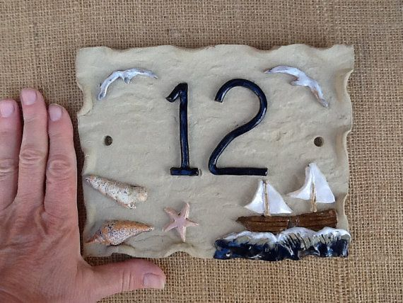 House number plaque ceramic house numbers beach by Sallyamoss